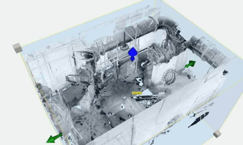 Pump and pipework design with pointcloud created by PointSCAN 3D laser surveys